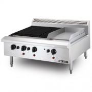 STAINLESS STEEL COMBINATION CHAR BROILER GRIDDLE